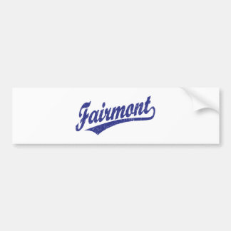 Fairmont script logo in blue car bumper sticker