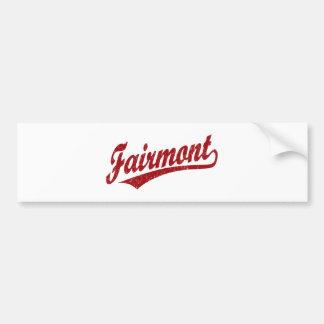 Fairmont script logo in red car bumper sticker