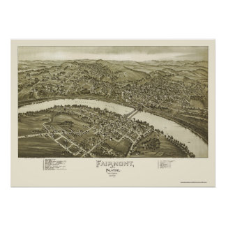 Fairmont, WV Panoramic Map - 1897 Poster