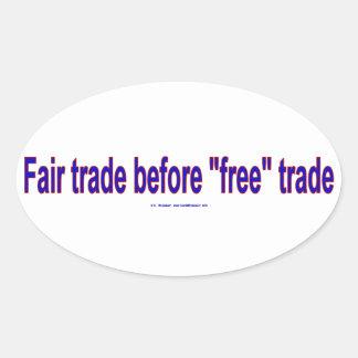 FairTradeBeforeFree Oval Sticker