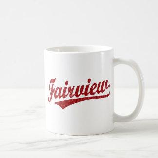 Fairview script logo in red classic white coffee mug