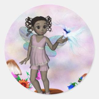 Fairy Afro Girl JazzLynn 1 Classic Round Sticker