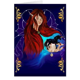 Fairy and Black Unicorn Card