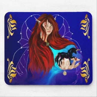 Fairy and Black Unicorn Mousepad