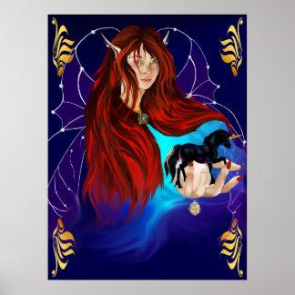 Fairy and Black Unicorn Poster