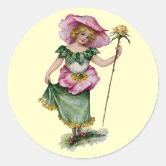 Fairy and Brier Rose Vintage Valentine Classic Round Sticker