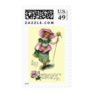 Fairy and Brier Rose Vintage Valentine Postage
