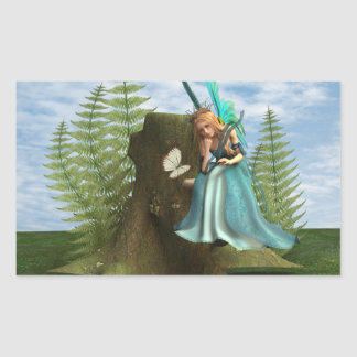 Fairy and Butterfly Rectangular Sticker