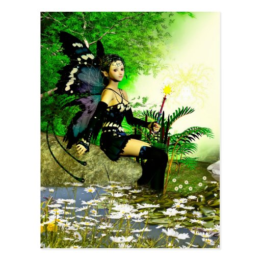 Fairy and daisies postcard