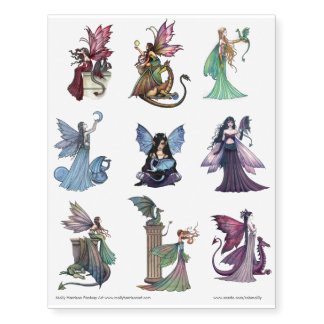Fairy and Dragon Art Temporary Tattoos