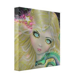 Fairy and Dragon Big Eye Art Canvas Print
