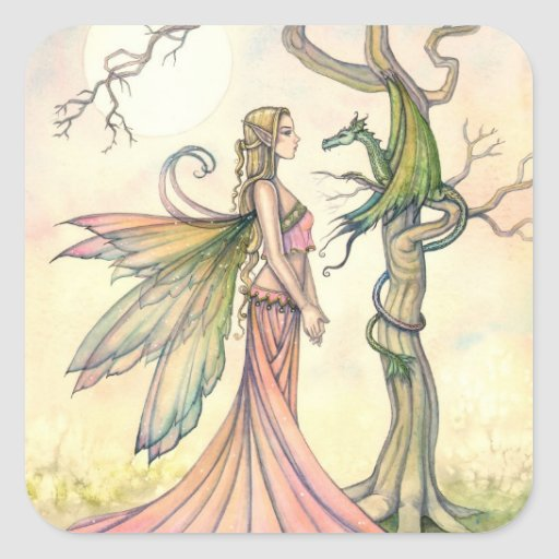 Fairy and Dragon Fantasy Art Stickers