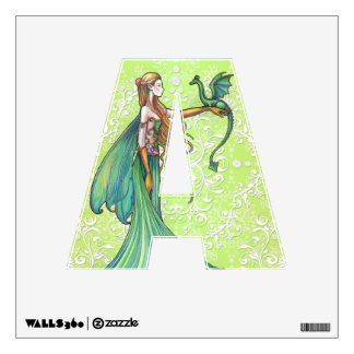 Fairy and Dragon Letter A Wall Decal Green