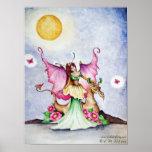 Fairy and Dragon Moonlight Friends & Butterflies Poster