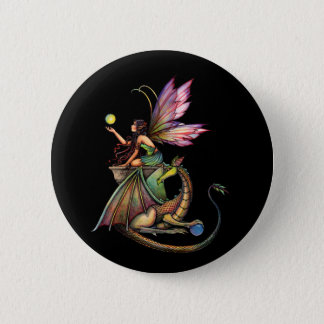 Fairy and Dragon Pin, Button by Molly Harrison