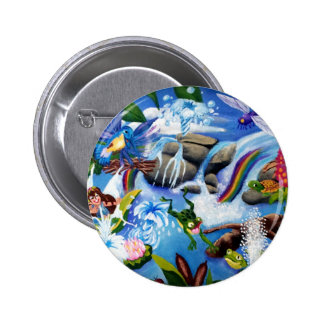 Fairy and Friends Frolic in aPond Pinback Button