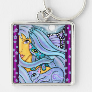 Fairy and Her Magical Cats Keychain
