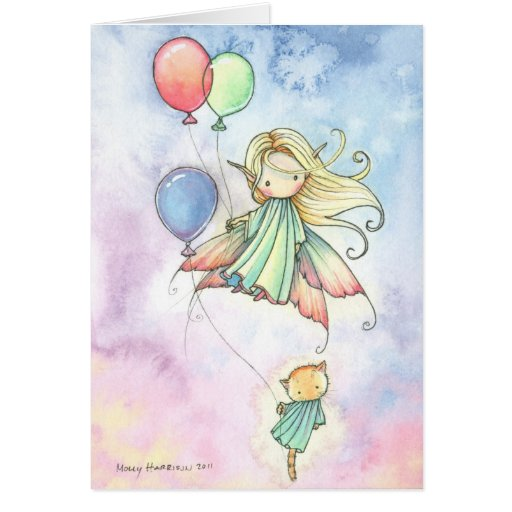 Fairy and Kitty Cat Birthday Card Floating Cuties