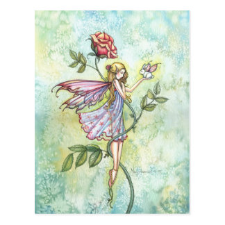 Fairy and Little Winged Bunny Fantasy Art Postcard