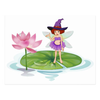 Fairy and lotus postcard