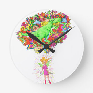 Fairy and Magical T-Rex Round Clock