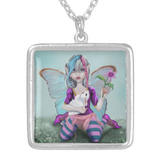 Fairy and Mouse Silver Plated Necklace
