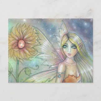 Fairy and Sunflower Fantasy Faerie Art zazzle_postcard