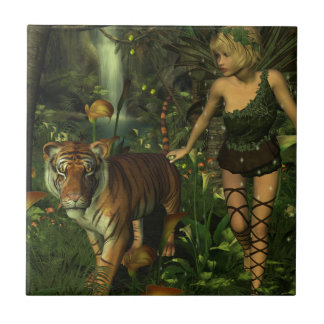 Fairy and Tiger in the Jungle Tile