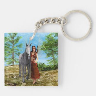Fairy and Unicorn Double-Sided Square Acrylic Keychain