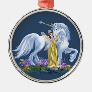 Fairy And Unicorn Metal Ornament