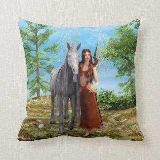 Fairy and Unicorn Throw Pillow
