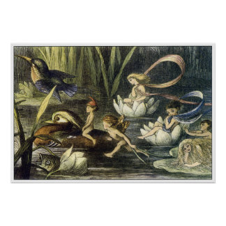 Fairy and Waterlily Print by Richard Doyle