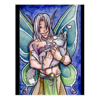 Fairy and Wolf Cub Postcard