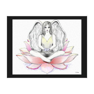fairy, angel on floating lily pad stretched canvas