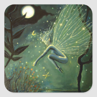"""Fairy Art Square Stickers - """"Crystal Water Sprite"""""""