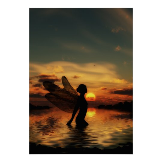Fairy at Sunset Poster