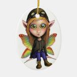 Fairy Aviator Double-Sided Oval Ceramic Christmas Ornament
