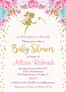 Fairy Baby Shower Invitation Pink And Gold