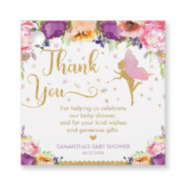 Fairy Baby Shower Pink Purple Floral Thank You Favor Tags