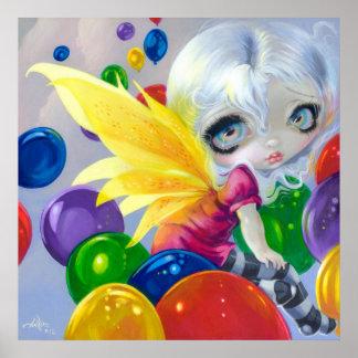 Fairy Balloons ART PRINT Birthday Party BIg Eye