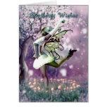 fairy birthday card , dancing fairy in mushrooms