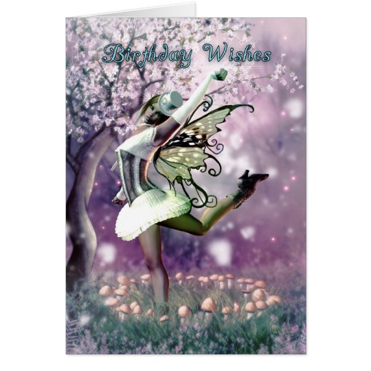 Fairy birthday card dancing fairy in mushrooms zazzle fairy birthday card dancing fairy in mushrooms bookmarktalkfo Image collections