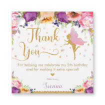 Fairy Birthday Party Pink Purple Floral Thank You Favor Tags