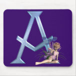 Fairy Blue Monogram A Mouse Pad