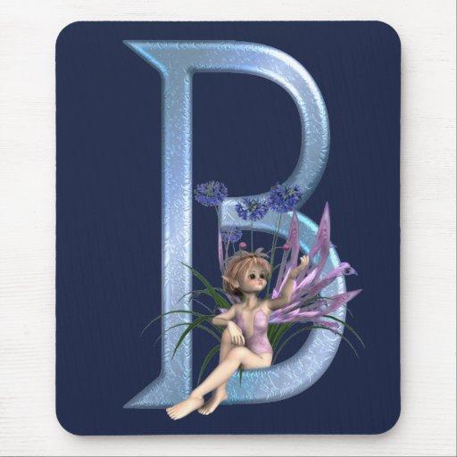 Fairy Blue Monogram B Mouse Pad