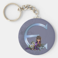 Fairy Blue Monogram E Keychain