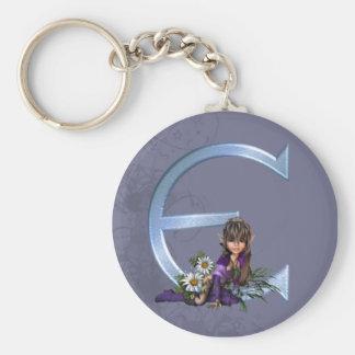 Fairy Blue Monogram E Keychain