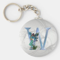 Fairy Blue Monogram W Keychain