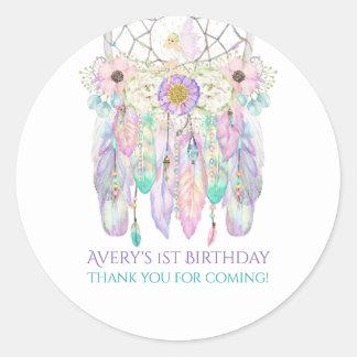 Fairy Boho Dream Catcher Pastels Feathers Classic Round Sticker