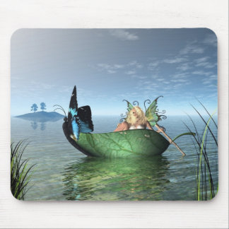 Fairy Butterfly Boat Mouse Pad